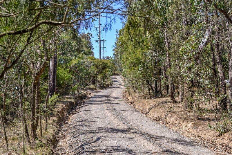 Schotterweg in Australier-Bush-Einstellung stockfotos