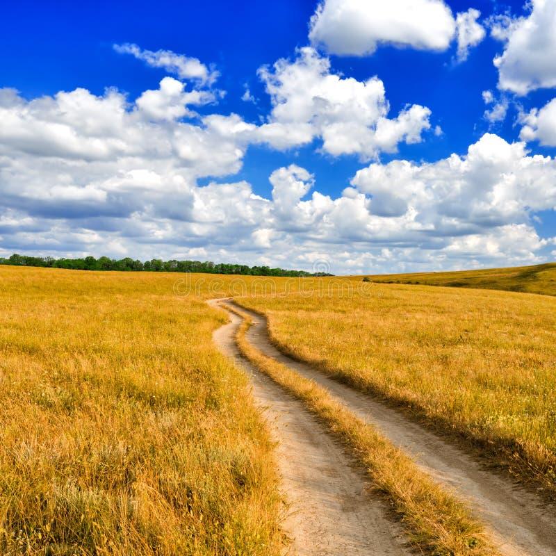 Schotterweg in der Steppe lizenzfreie stockfotografie
