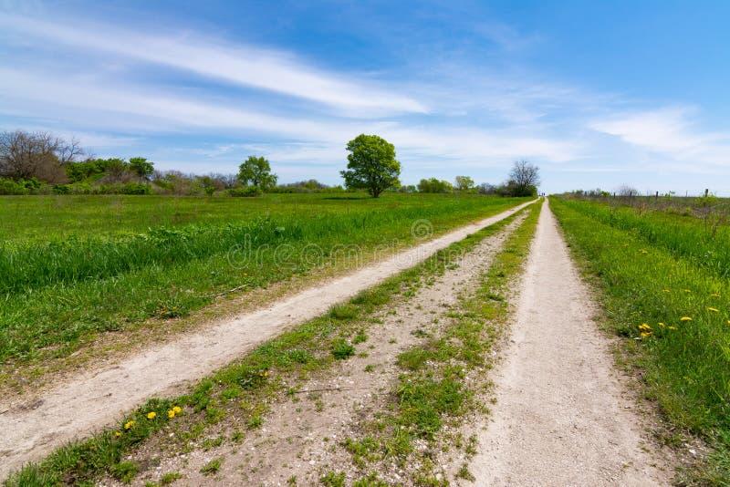 Schotterweg durch das Grasland lizenzfreies stockfoto