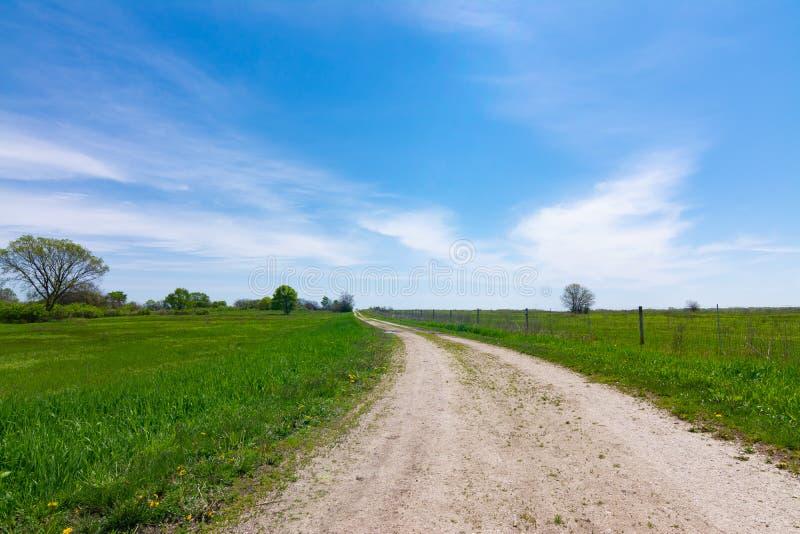 Schotterweg durch das Grasland lizenzfreie stockbilder
