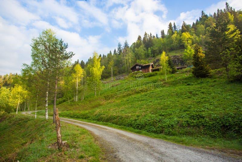 Schotterweg entlang der ländlichen Landschaft lizenzfreie stockfotografie