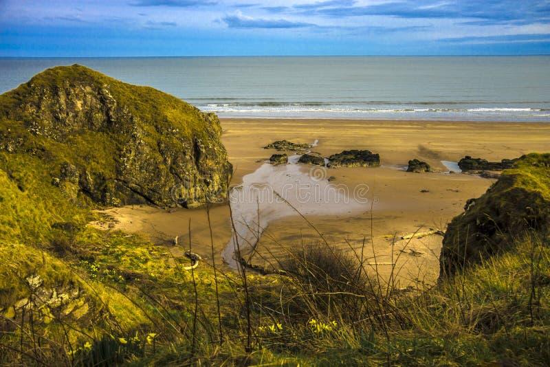 Schottische Landschaft St Cyrus Beach, Montrose, Aberdeenshire, Schottland, Vereinigtes Königreich stockbild