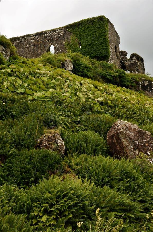 Schottische Marksteine - Ruinen von Aros-Schloss lizenzfreie stockfotos