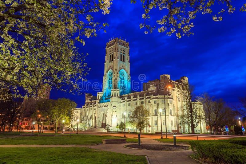 Schottische Ritus-Kathedrale in im Stadtzentrum gelegenem Indianapolis stockfoto