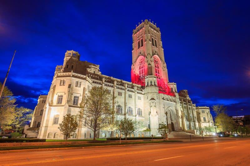 Schottische Ritus-Kathedrale in im Stadtzentrum gelegenem Indianapolis stockfotos