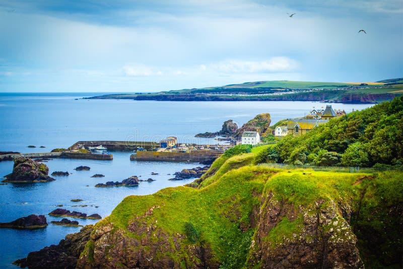 Schottische Sommerlandschaft, Dorf St. Abbs, Schottland, Großbritannien stockbilder
