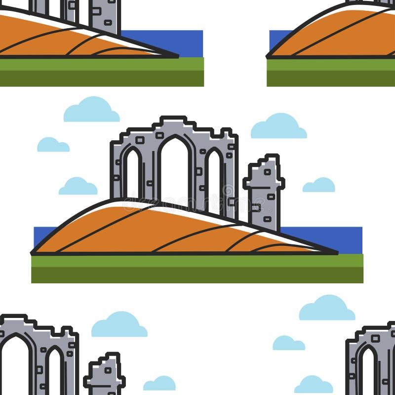 Schottische Tempelruinen alte Architektur und nahtloses Muster des Marksteins lizenzfreie abbildung