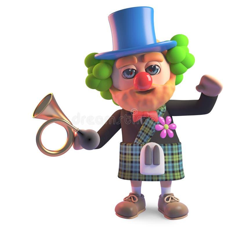 Schottischer Mann der lustigen Karikatur im Kilt gekleidet als Clown mit roter Nase, Illustration 3d vektor abbildung