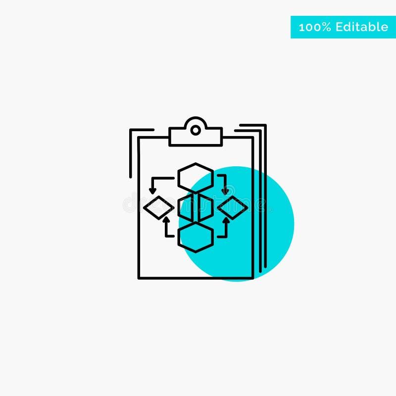 Schowek, biznes, diagram, przepływ, proces, praca, obieg głównej atrakcji okręgu punktu wektoru turkusowa ikona ilustracji
