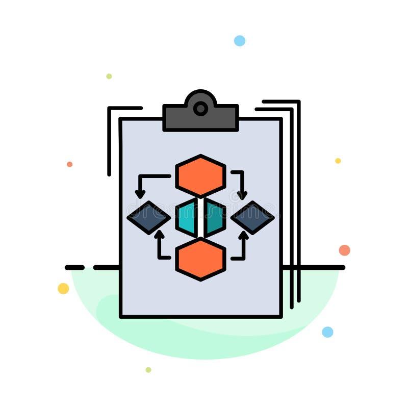 Schowek, biznes, diagram, przepływ, proces, praca, obieg koloru ikony Abstrakcjonistyczny Płaski szablon ilustracja wektor