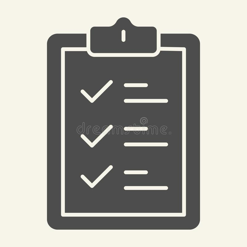 Schowek bryły ikona Dokument wektorowa ilustracja odizolowywająca na bielu Lista kontrolna glifu stylu projekt, projektujący dla  ilustracji