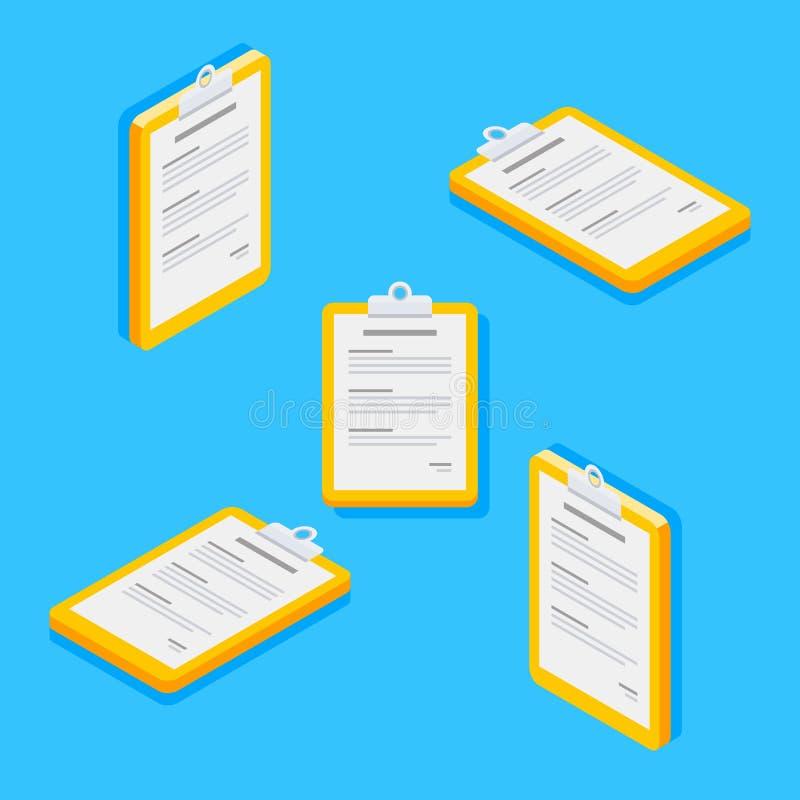 Schowek, dokument, Isometric, Płaska ikona, ilustracji