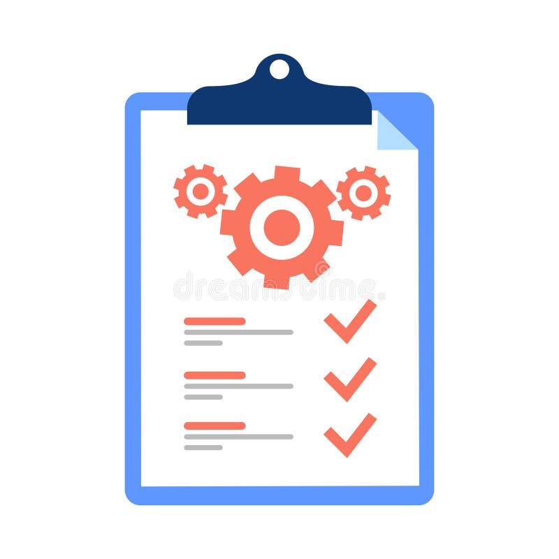 Schowek i cogwheel, pomoc techniczna czeka lista, drużynowy pracy rozwiązanie, zarządzanie projektem, aktualizacja programu _ royalty ilustracja