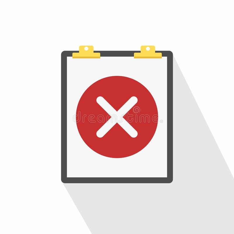 Schowek i czerwona round ikona z krzyżem Niewypełniony zadanie Listy kontrolnej ikona ilustracji
