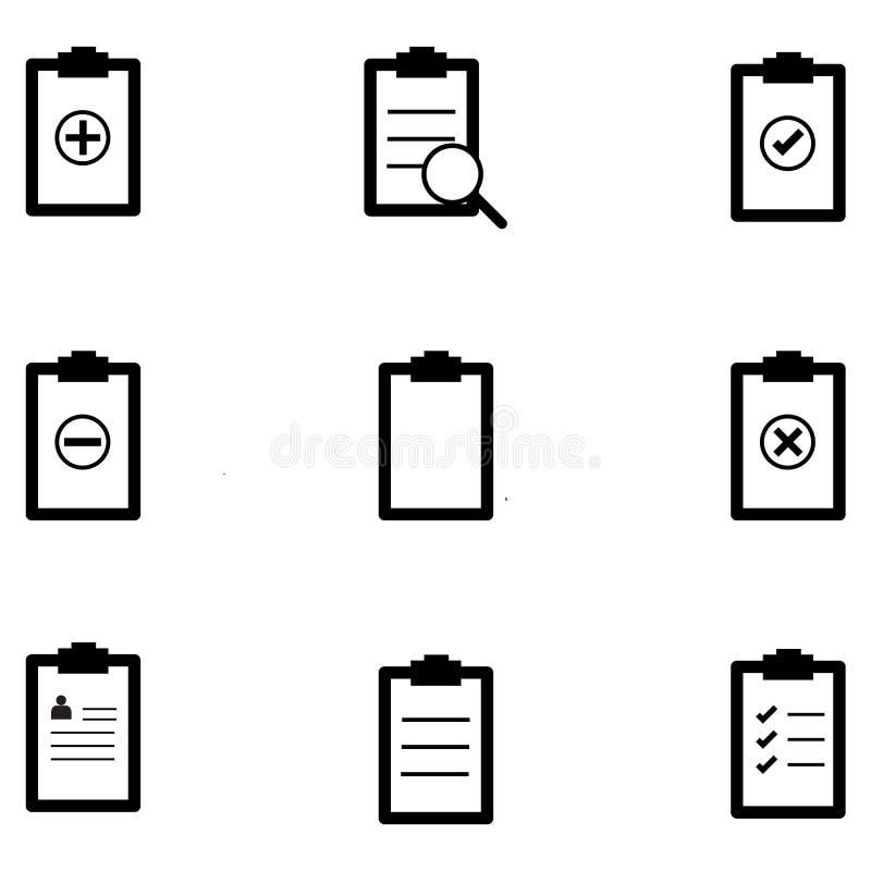 Schowek ikon ikony wektoru Eps10 minimalny stylowy set royalty ilustracja