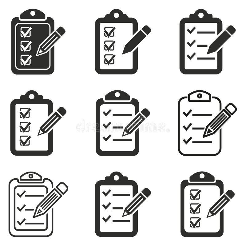 Schowek ikony ołówkowy set ilustracja wektor