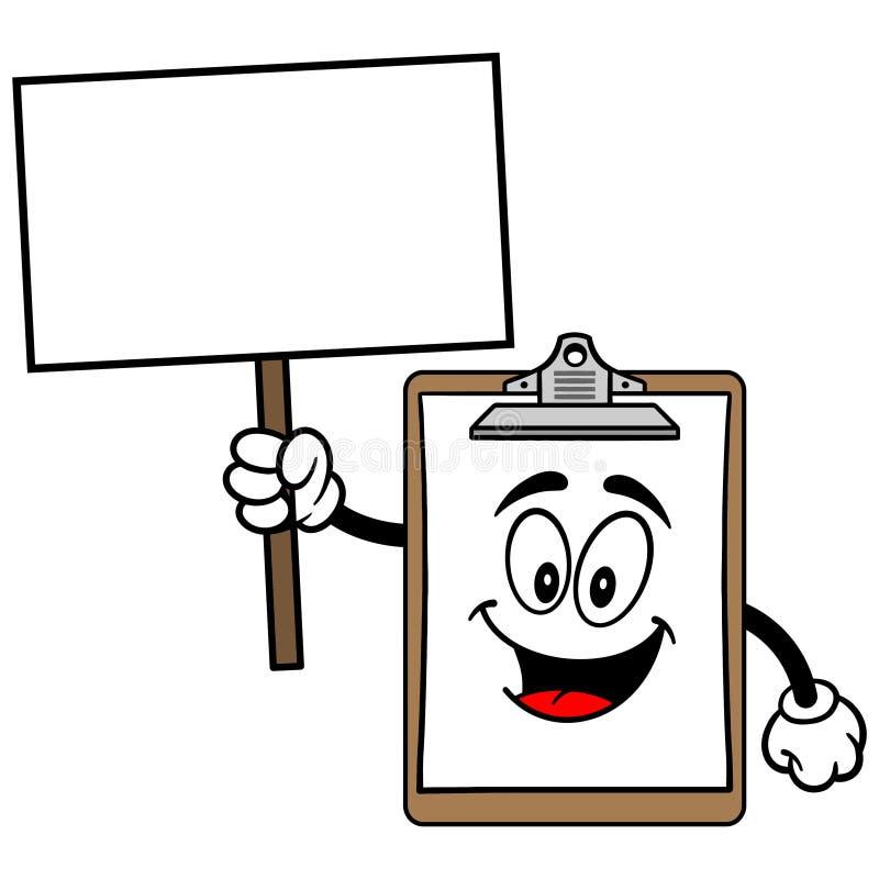 Download Schowek maskotka z znakiem ilustracja wektor. Ilustracja złożonej z obraz - 53790670