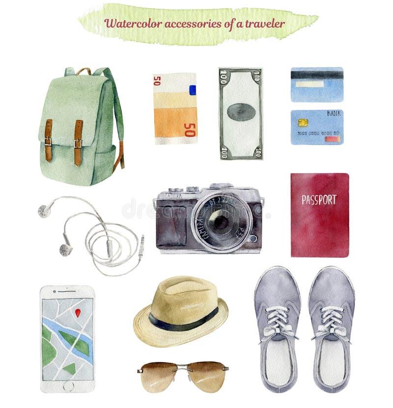 Schowek podróżnika ` s akcesoriów urlopowe rzeczy paited w wacie ilustracji