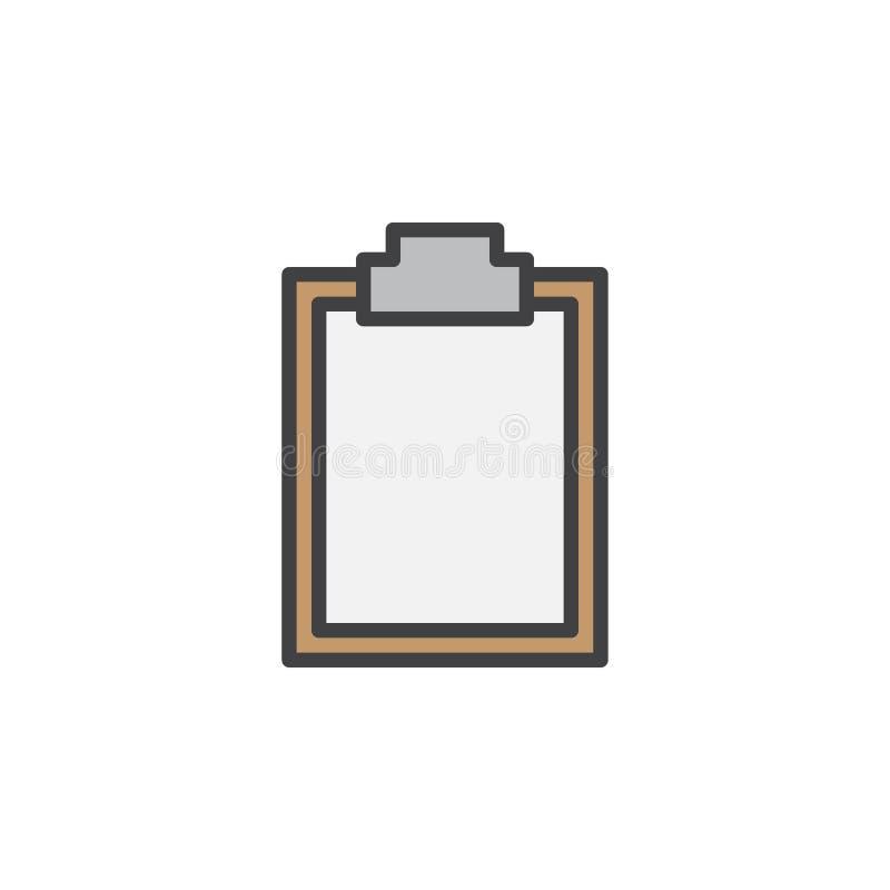 Schowek pusta kreskowa ikona, wypełniający konturu wektoru znak, liniowy kolorowy piktogram odizolowywający na bielu ilustracji