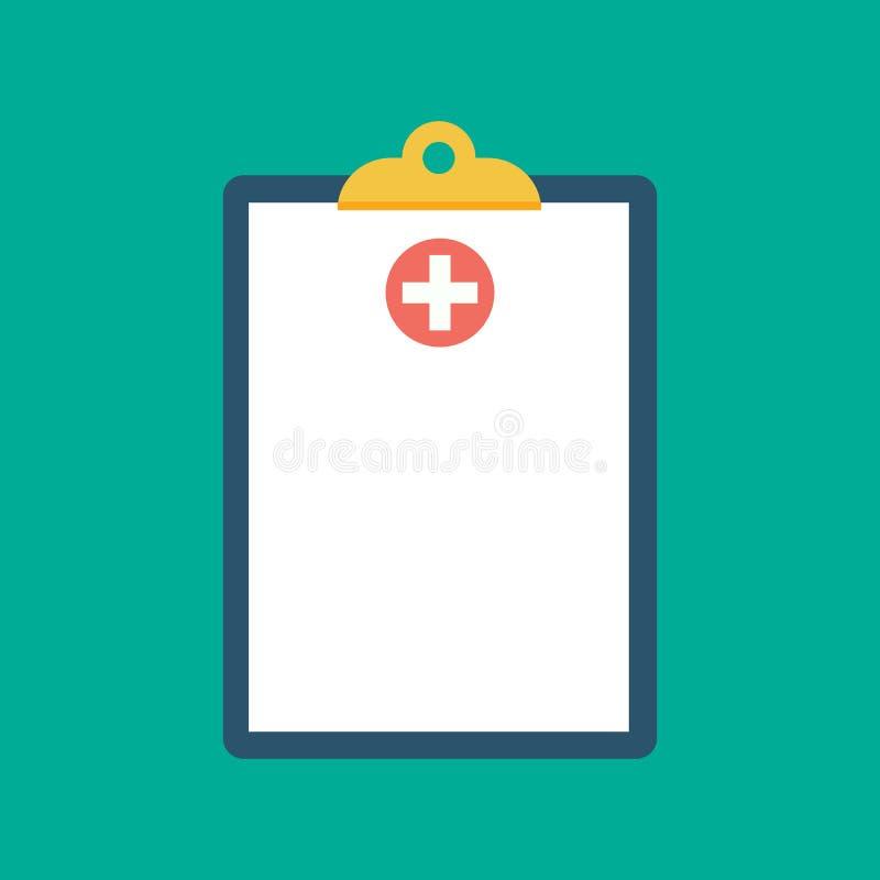 Schowek w jego ręki lekarce Lekarka bierze notatki w schowku Schowek, ręka, pióro Raport medyczny, medyczny tło mieszkanie ilustracji