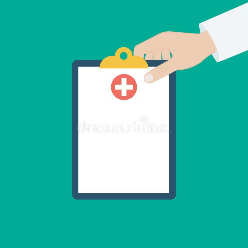 Schowek w jego ręki lekarce Lekarka bierze notatki w schowku Schowek, ręka, pióro Raport medyczny, medyczny tło mieszkanie royalty ilustracja