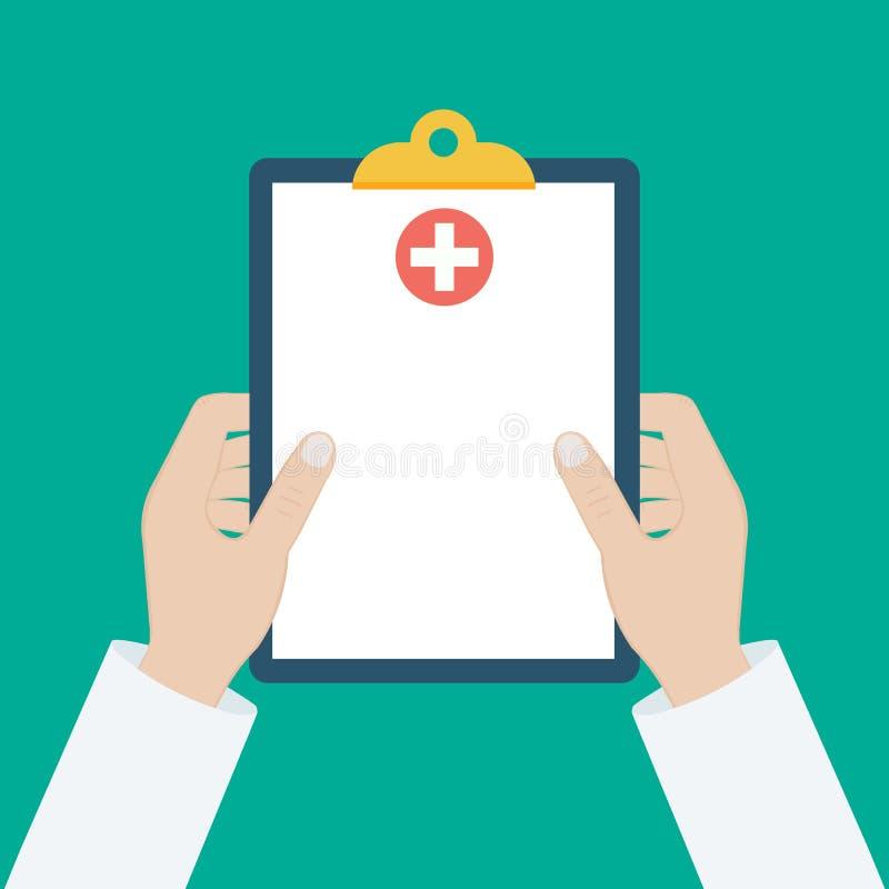 Schowek w jego ręki lekarce Lekarka bierze notatki w schowku Schowek, ręka, pióro Raport medyczny, medyczny tło mieszkanie ilustracja wektor