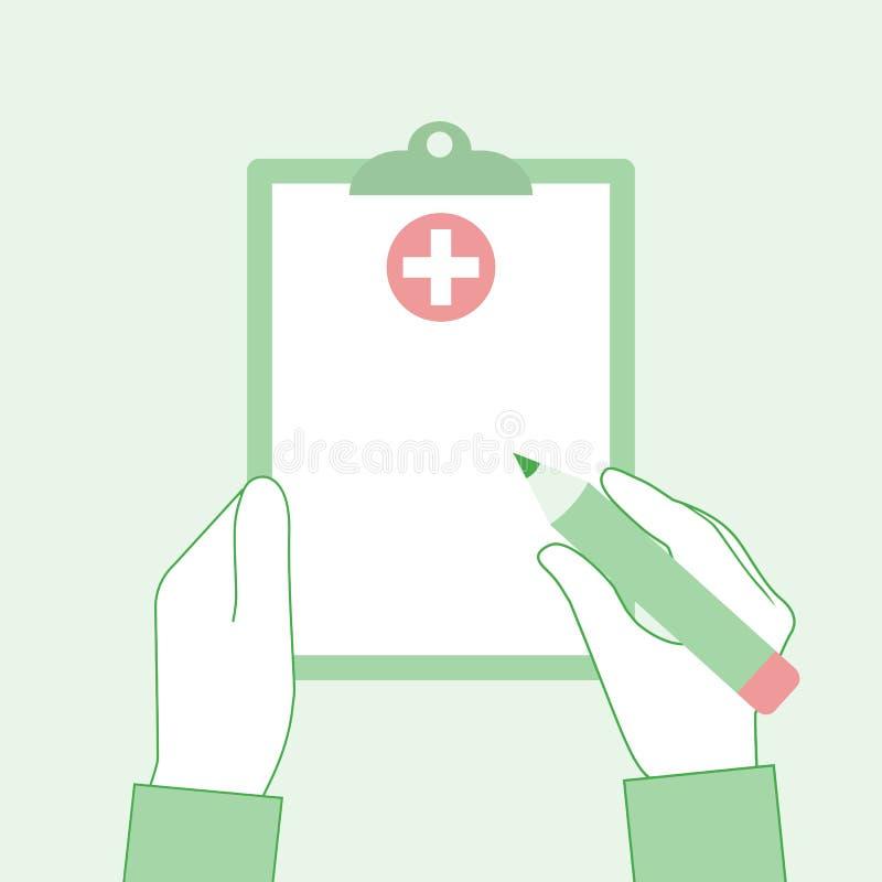 Schowek w rękach lekarka royalty ilustracja