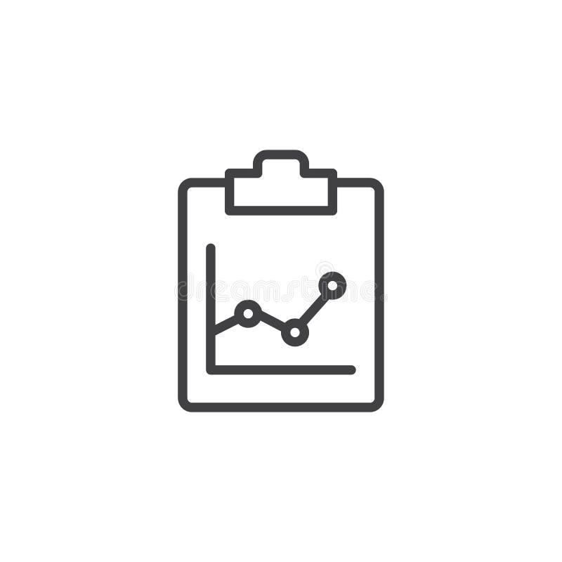 Schowek z biznesową narastającą mapy linii ikoną ilustracja wektor