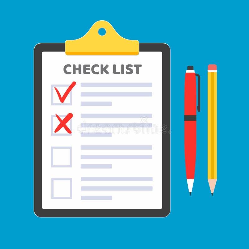 Schowek z czek listy żądania formą na nim, papierów prześcieradła, czek oceny cyka OK i krzyże X w checkbox na liście, czerwony p ilustracja wektor