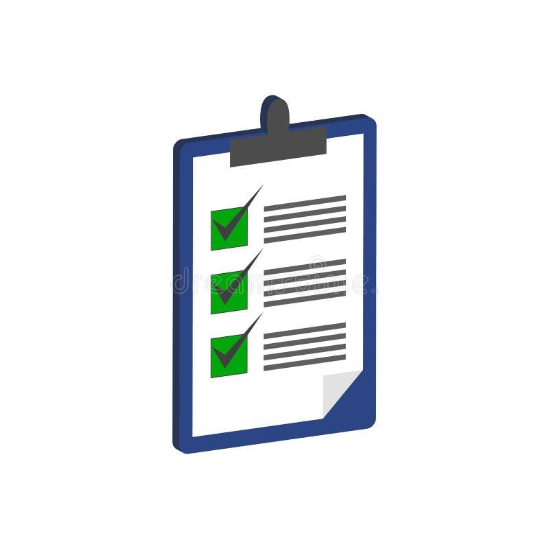 Schowek z lista kontrolna symbolem Płaska Isometric ikona lub logo royalty ilustracja