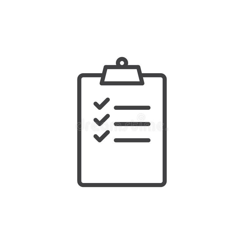 Schowek z listy kontrolnej linii ikoną, konturu wektoru znak, liniowy stylowy piktogram odizolowywający na bielu ilustracji