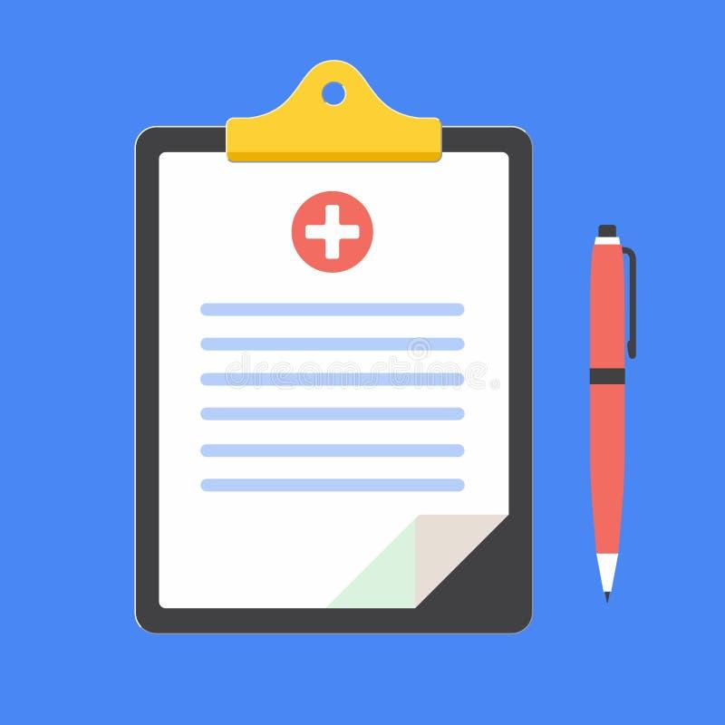 Schowek z medyczną teksta żądania formą na nim, papierów prześcieradłach, ubezpieczenie medyczne krzyżu i piórze odizolowywającyc ilustracji
