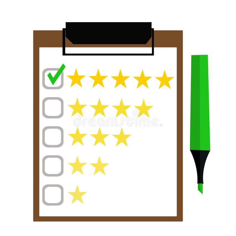 Schowek z ocen gwiazdami i filc piórem Kontrola jakości, klientów przeglądy, usługowi ratingowi pojęcia Odgórny widok Płaski proj ilustracji