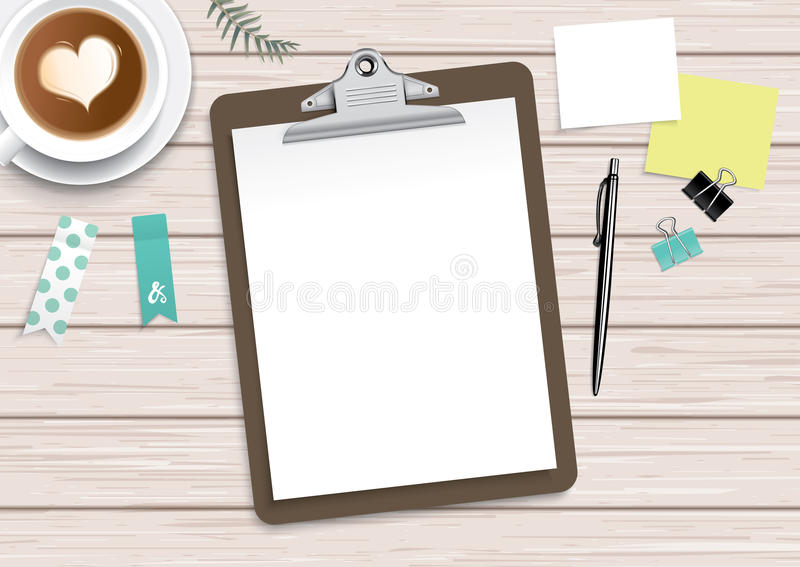 Schowek z pustym białym papierem i materiały ilustracji