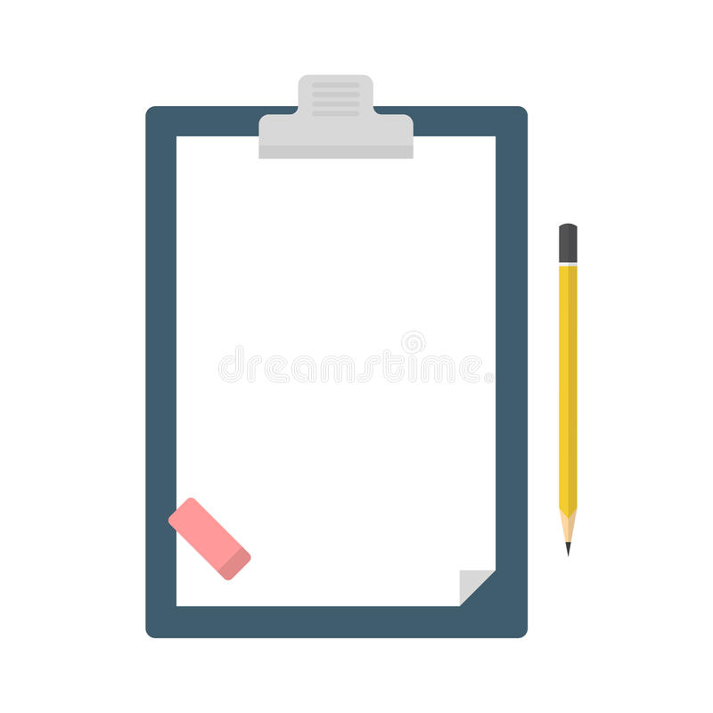 Schowek z pustym prześcieradłem papier, ołówek i gumka, ilustracja wektor