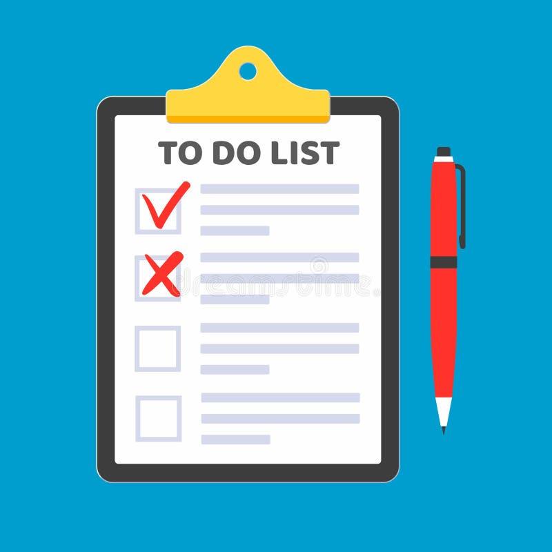 Schowek z robić listy żądania formie na nim, papierów prześcieradła, czek oceny cyka OK i krzyże X w checkbox na liście, czerwony ilustracja wektor