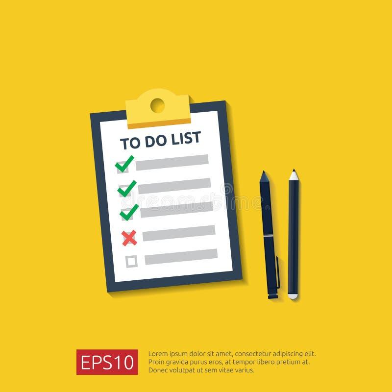 Schowek z robić liście, planowanie, ołówek lub pióro w mieszkanie stylu, wektorowy ilustracyjny pojęcie lista kontrolna papieru p royalty ilustracja