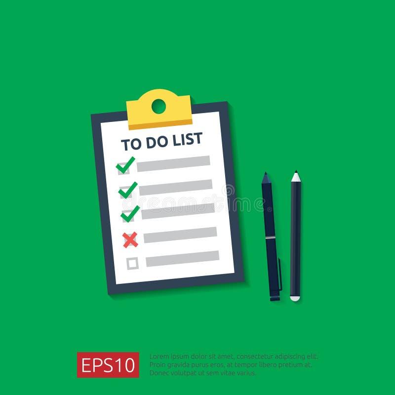 Schowek z robić liście, planowanie, ołówek lub pióro w mieszkanie stylu, wektorowy ilustracyjny pojęcie lista kontrolna papieru p ilustracji