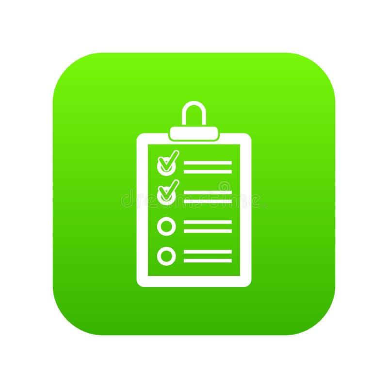 Schowek z robić listy ikony cyfrowej zieleni ilustracja wektor