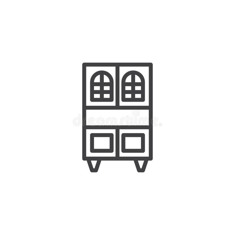 Schrank mit Fächern zeichnen Ikone vektor abbildung