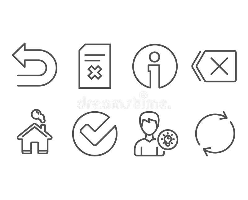 Schrap dossier, verifieer en verwijder pictogrammen Het persoonsidee, maakt en Volledige omwentelingstekens ongedaan stock illustratie