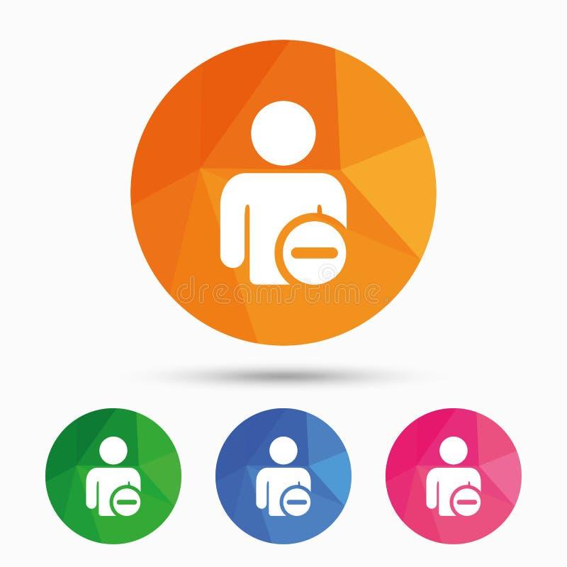 Schrap het pictogram van het gebruikersteken Verwijder vriendensymbool vector illustratie