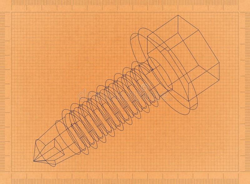 Schraube - Retro- Plan vektor abbildung
