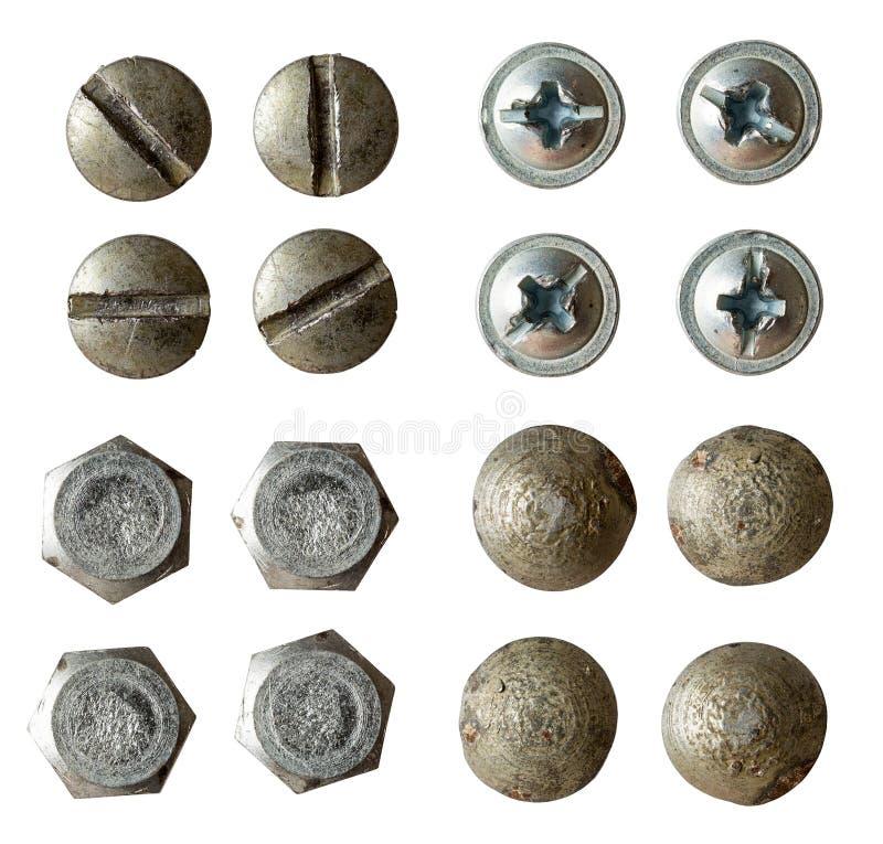 Schraube, Schraube, Nietsammlung getrennt stockfoto