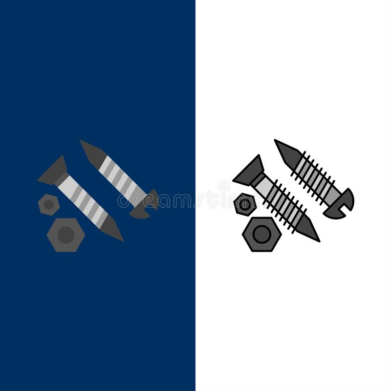 Schrauben, Gebäude, Bau, Werkzeug, Arbeits-Ikonen Ebene und Linie gefüllte Ikone stellten Vektor-blauen Hintergrund ein stock abbildung