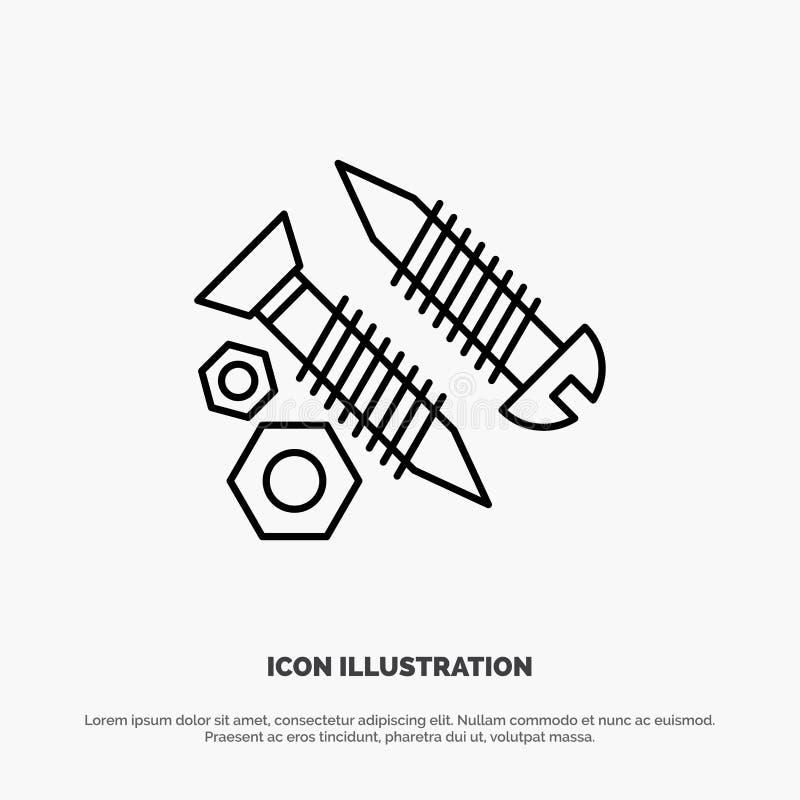 Schrauben, Gebäude, Bau, Werkzeug, Arbeits-Linie Ikonen-Vektor lizenzfreie abbildung