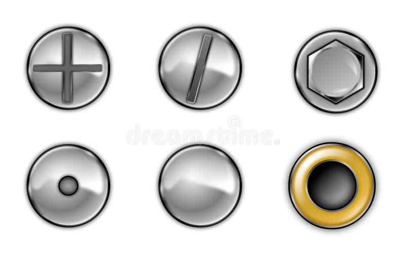 Schrauben- und Schraubenköpfe lizenzfreie abbildung