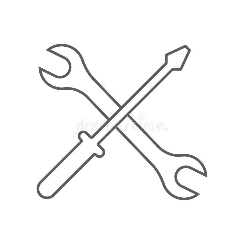 Schraubendreher-und Schl?ssel-Ikone Element des Autos repear f?r bewegliches Konzept und Netz Appsikone Entwurf, d?nne Linie Ikon vektor abbildung