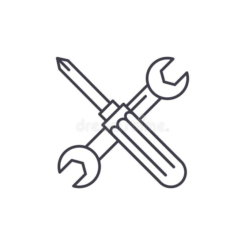 Schraubenzieher- und Schlüssellinie Ikonenkonzept Lineare Illustration des Schraubenzieher- und Schlüsselvektors, Symbol, Zeichen lizenzfreie abbildung
