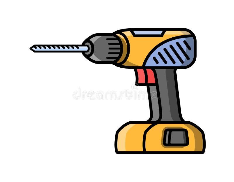 Schraubenzieherbauelektrowerkzeug Flache Artikone des Schraubenziehers vektor abbildung